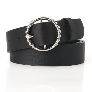 Round Buckle Belt Black