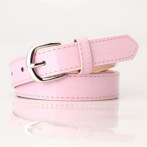 Patent Leather Wide Belt - Pink