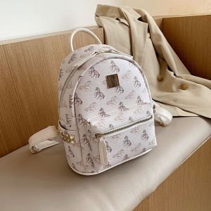 Horse Print White Back Pack