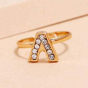 Rhinestone Letter V Ring