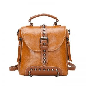 Tan Brown Leather Backpack