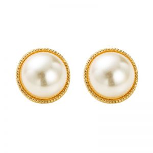Round Alloy Pearl Earrings