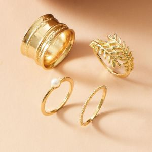 Gold Plated Metal Leaf Ring 4-piece Set