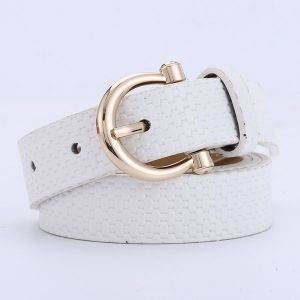 Straw Mat Pattern Belt Wild Pu Pin Buckle - White