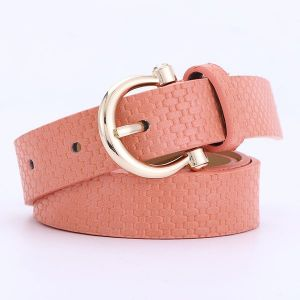 Straw Mat Pattern Belt Wild Pu Pin Buckle