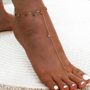 Colourful Resin Diamond Alloy Anklet