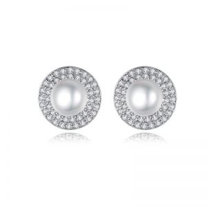 Pearl Earrings With Small Crystals