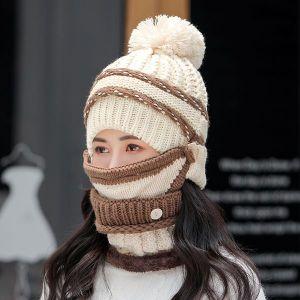White Three-piece Hat Bib Mask Women's Winter Plus Velvet Padded Ear Protection Knitted Hat