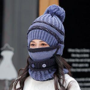 Blue Three-piece Hat Bib Mask Women's Winter Plus Velvet Padded Ear Protection Knitted Hat