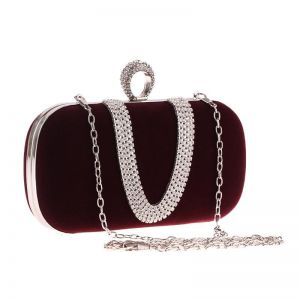 Velvet Cloth Diamond Finger Dinner Party Bag Wine Red