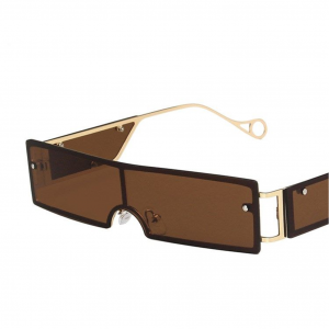 Brown Rivet Personality Metal Retro Sunglasses