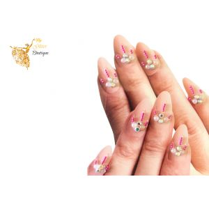 Pink Small Beads Nail Cuticle Stickers