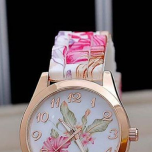 Pink Floral Silicone Watch